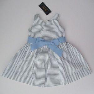 Ralph Lauren Girls Blue Striped Party Dress NEW
